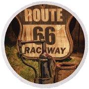 Route 66 Raceway Round Beach Towel