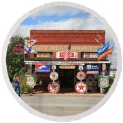 Route 66 - Sandhills Curiosity Shop Round Beach Towel