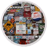 Route 66 Signs Round Beach Towel