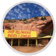 Route 66 Trading Post Round Beach Towel