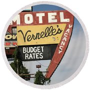 Route 66 - Vernelle's Motel Round Beach Towel