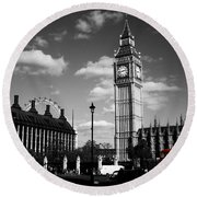 Routemaster Bus On Black And White Background Round Beach Towel