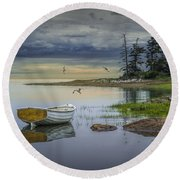 Row Boat By Mount Desert Island Round Beach Towel