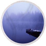 Row Boat On Lake Mason Round Beach Towel