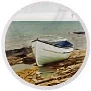 Row Boat On Rocky Shore Round Beach Towel