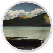 Row Boat On Silver Lake With Dunes Round Beach Towel