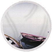 Row Boats In A River, Ganges River Round Beach Towel