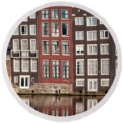 Row Houses In Amsterdam Round Beach Towel