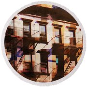 Row Houses - Old Buildings And Architecture Of New York City Round Beach Towel