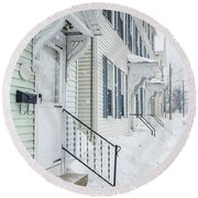 Row Houses On A Snowy Day Round Beach Towel