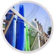 Row Of Kayaks Round Beach Towel