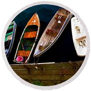 Row Of Rowboats  Round Beach Towel