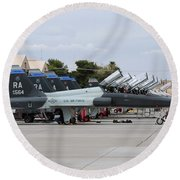 Row Of T-38c Trainer Jets At Nellis Air Round Beach Towel