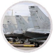Row Of U.s. Marine Corps Fa-18 Hornet Round Beach Towel