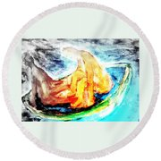 in a boat with you, my love, I will soon forget all about who I am   Round Beach Towel