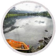 Row Your Boat To The Briksdalsbreen Glacier Round Beach Towel