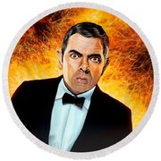 Rowan Atkinson Alias Johnny English Round Beach Towel