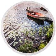 Rowboat At Lake Shore At Sunrise Round Beach Towel by Elena Elisseeva