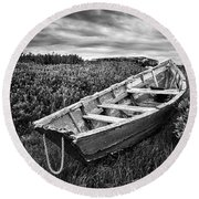 Rowboat At Prospect Point - Black And White Round Beach Towel