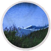 Rowboat In Grass Round Beach Towel