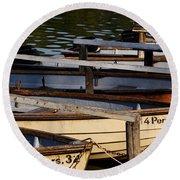 Rowboats At A Lake Round Beach Towel