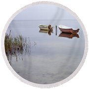 Rowboats On Nonnensee Round Beach Towel