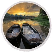 Rowboats On The River Round Beach Towel