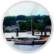 Rowboats Piled At Dock Round Beach Towel