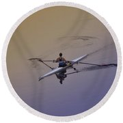 Rower Round Beach Towel by Bill Cannon