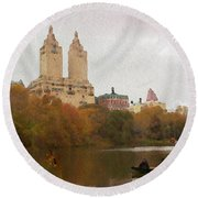 Rowers In Central Park Round Beach Towel