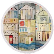 Rowhouses Triptych Round Beach Towel