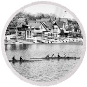 Rowing Along The Schuylkill River In Black And White Round Beach Towel