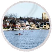 Rowing At Boathouse Row Round Beach Towel