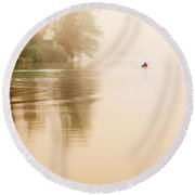 Rowing In The Mist Round Beach Towel