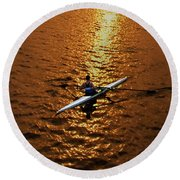Rowing Into The Sunset Round Beach Towel