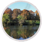 Rowing On The River Thames At Hampton Court London Round Beach Towel