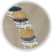 Rows Of Parasols On The Beach Of Round Beach Towel
