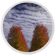 Rows Of Red Autumn Trees With Cirus Clouds Round Beach Towel