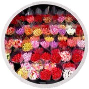 Rows Of Roses Round Beach Towel