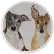 Roxie And Bruno The Greyhounds Round Beach Towel