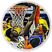 Roy Hibbert Vs Carmelo Anthony Round Beach Towel by Florian Rodarte