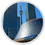 Roy Thomson Hall And Cn Tower Round Beach Towel