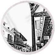Royal Afternoon Monochrome Round Beach Towel
