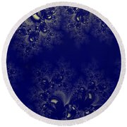 Royal Blue Frost Fractal Round Beach Towel
