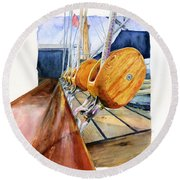 Royal Clipper Ships Tackle Round Beach Towel