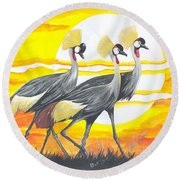 Royal Cranes From Rwanda Round Beach Towel