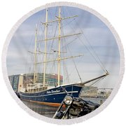 Royal Enfield Motorcycle Round Beach Towel