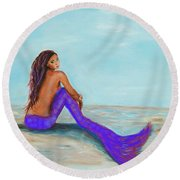 Royal Mermaid Round Beach Towel