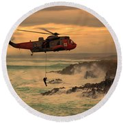 Royal Navy Rescue  Round Beach Towel