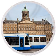 Royal Palace And Trams In Amsterdam Round Beach Towel